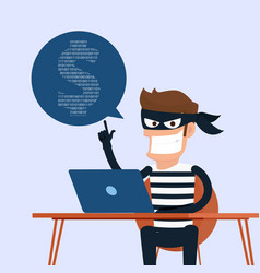 Thief hacker stealing sensitive data as passwords vector