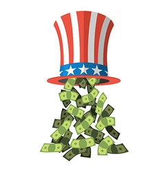 Uncle sam hat and money american hat for vector