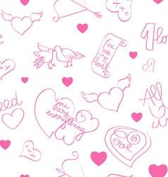 valentine day doodles pattern vector image vector image