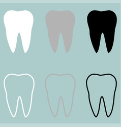 white grey black tooth icon vector image