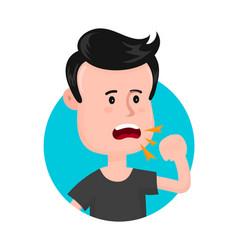 Young sick man cough sore throat vector