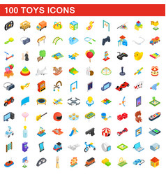 100 toys icons set isometric 3d style vector image vector image