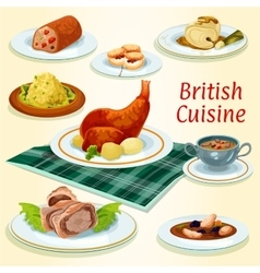 British cuisine icon with popular dinner dishes vector