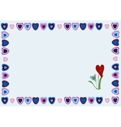 Frame of hearts on a blue background vector image