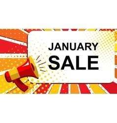 Megaphone with january sale announcement flat vector