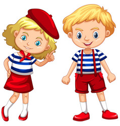 Boy and girl in blue striped shirts vector