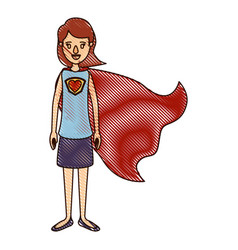 color crayon stripe cartoon full body super hero vector image