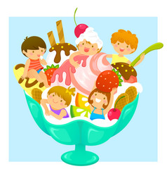 Kids in ice cream vector