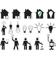 Human pictogram with bulbs vector image