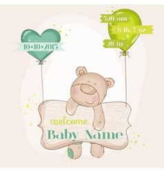 Baby bear with balloons - baby shower card vector