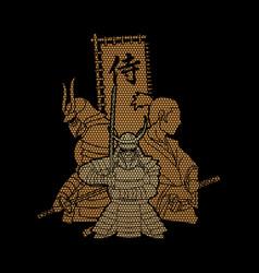 3 samurai composition with flag vector