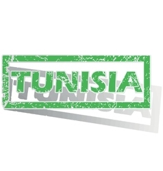 Green outlined tunisia stamp vector