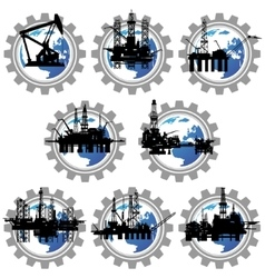 Badges with drilling rigs and oil pumps vector