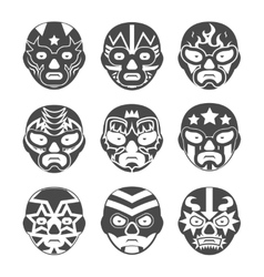Lucha libre mexican wrestling masks icons set vector
