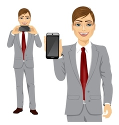 Businessman displaying his smartphone vector