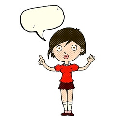 Cartoon girl asking question with speech bubble vector
