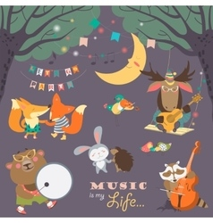 Cute animals musicians and dancers vector image