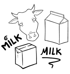 Milk symbols set collection vector