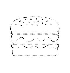 Burger simple sign black dotted icon on vector
