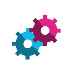 color gears symbol process industry vector image