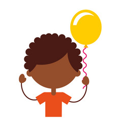 Cute african boy with balloons air character icon vector