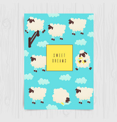 cute sheep jumping over the fence vector image