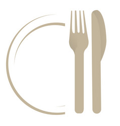 Dish with fork an knife vector