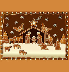 Gingerbread nativity scene vector