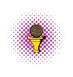 Golf ball on a tee icon comics style vector