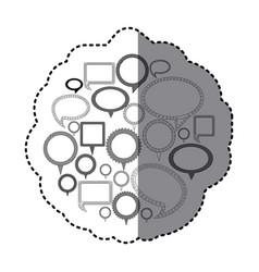 Grayscale silhouette adhesive with speech bubble vector