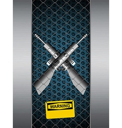 Guns cage with warning sign background vector