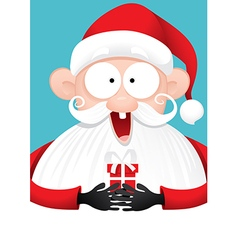 Happy Santa Claus with Gift Cartoon vector image
