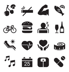 healthy icons set 2 vector image vector image