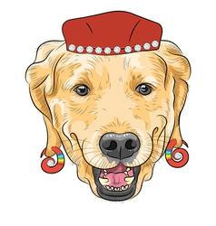 Hipster dog labrador retriever vector