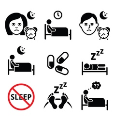 Insomnia people having trouble with sleeping icon vector