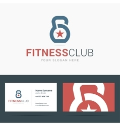 Logo and business card template for fitness club vector
