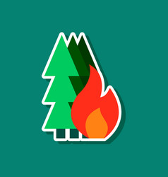 Paper sticker on stylish background of forest fire vector