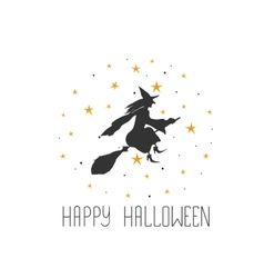 Postcard with witch and text Happy Halloween vector image vector image