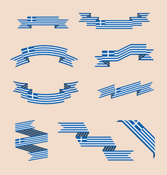 Ribbons or banners in colors of greek flag vector