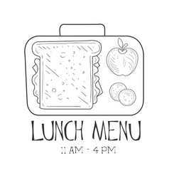 School lunchbox cafe lunch menu promo sign in vector