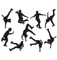 Silhouette of a guy break dancing vector
