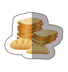 various types of bread icon vector image