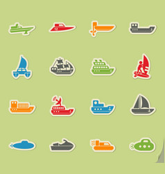 Water transport icon set vector