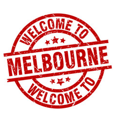 Welcome to melbourne red stamp vector