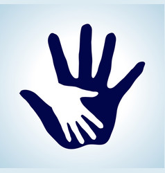 White and blue of hand in hand concept of help vector