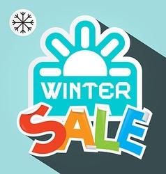 Winter sale retro with paper cut colorful ti vector