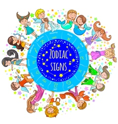 Zodiac signs kids round board vector image