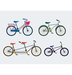 Colorful bicycle set vector