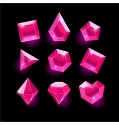 Set of cartoon pink different shapes crystals vector