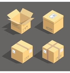 Isometric cardboard boxes packaging icons vector